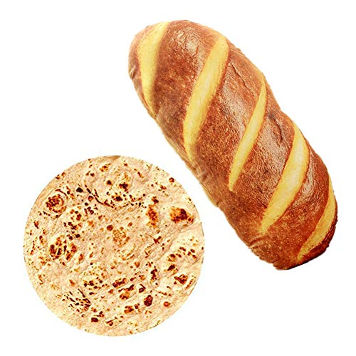 Ousyaah 2Pieces 40in Baguette Pillow Bread Back Cushion + Round Giant Burrito Tortilla Blanket for Adult and Kids Indoors, Outdoors, Travel and Home(Bread+Blanket)