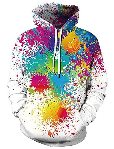 uideazone Uniesx 3D-Druck Hoodies Fleece-Pullover Lustige Kapuzenpullover Sweatshirt für Herren Damen mit Großen Taschen …, Weiß-farbe, M