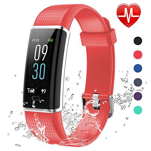 Lintelek, Fitness Tracker, con cardiofrequenzimetro, 14 modalità di Sport programmabili, Orologio Smart con Bluetooth e contapassi, per Uomo, Donna e Bambino (Red)