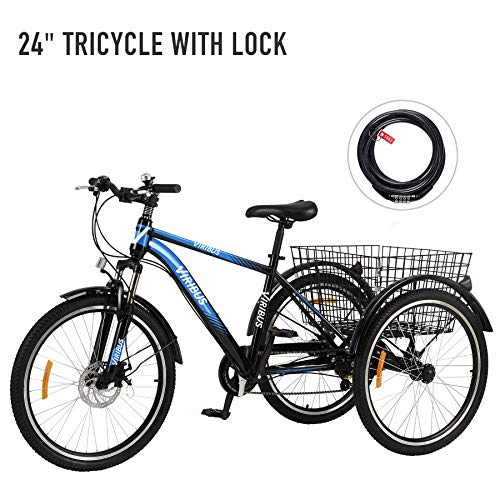 "Viribus 7-Speed Adult Tricycle w Adjustable Handlebars and Seat Three-Wheel Mountain Bicycle for Men and Women Complete Beach Cruiser Trike with Basket Lights Bell for Adults (Black2, 26""/7-Speed)"