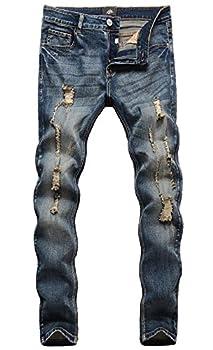 ZLZ Men s Ripped Skinny Distressed Destroyed Slim Fit Stretch Biker Jeans Pants With Holes Vintage Blue 32
