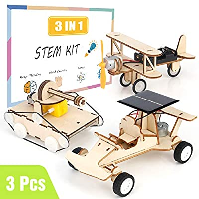 Elf Lab DIY Wooden Building Kit Solar Power Race Car and Electric Motor Tank,Biplane Glider,STEM DIY 3D Wooden Puzzles, Educational Puzzle Game, Assembly Learning Toy,Engineering,3 in 1 Set