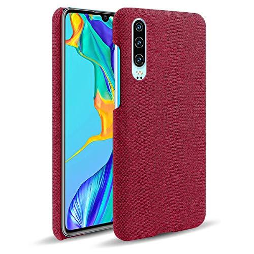 Suhctup Compatible con Huawei Mate 30 Pro Funda de Tela Tejida de Color Sólido TPU Forrada Premium de Carcasa Simple Moda Antideslizante Antigolpes Anti-arañazos Protección Caso(Rojo)