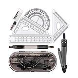 8 piezas Matemáticas-Geometría, Brújula Papelería de examen Estuche para lápices con cajas de dibujo de ingeniería y estudiantes, lápices y borradores