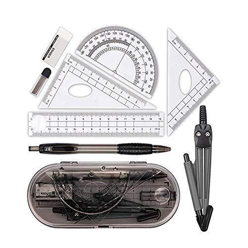 8 Stück Mathematik Geometrie Set , Student Supplies mit bruchsicheren Aufbewahrungsbox, inkl, Winkelmesser, Kompass, Bleistift Führen Minen, Bleistift, Radiergummi