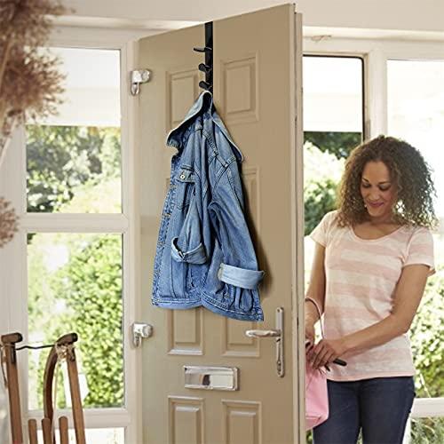 YeLukk 1-Pack Over The Door Hook Hanger, 5-Hook Heavy-Duty Organizer Rack for Coats, Hats, Robes, Shirts, Belts, Bags, Ties, Belts, Scarves,Towels, Closet and Bathroom,Black,Brown,White (Black)