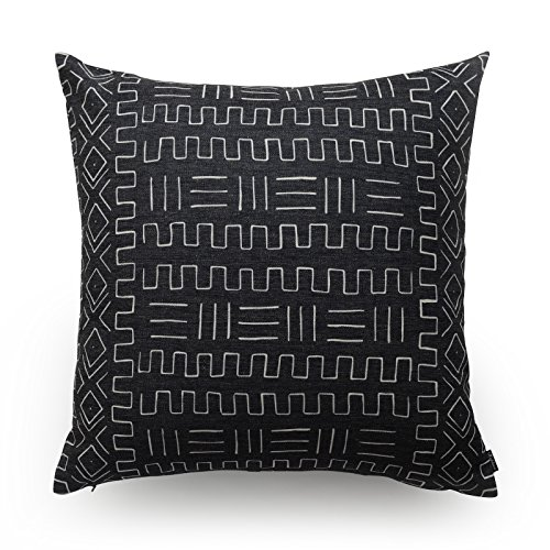 Hofdeco Decorative Throw Pillow Cover HEAVY WEIGHT Cotton Linen African Mud Cloth Ethnic Black Tribal Pattern 45cm x 45cm
