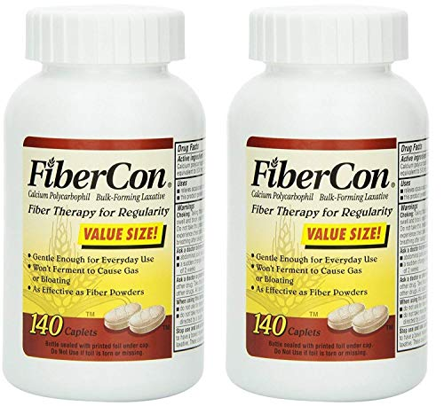 FiberCon Fiber Therapy for Regularity, Caplets, Value Size 140 caplets (Pack of 2)
