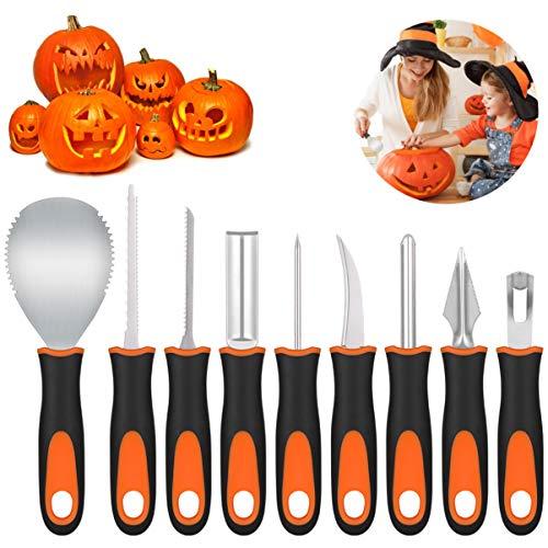 PRETYZOOM - Kit professionale per tagliare zucca, per Halloween, 9 pezzi