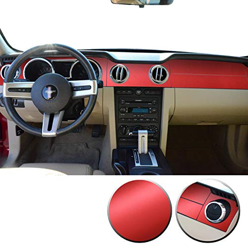 Optix Dashboard Trim Vinyl Decal Overlay Wrap Trim Inserts Sticker Dash Compatible with and Mustang 2005 2006 2007 2008 2009 - Metallic Matte Chrome Red