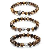 Gioielli fantasia Bracciale multi-tous Perle buddha Confezione da 3per uomo donna occhio di tigre Agata Artificiale Teschio Cranio Colore Marrone marrone con sacchetto regalo