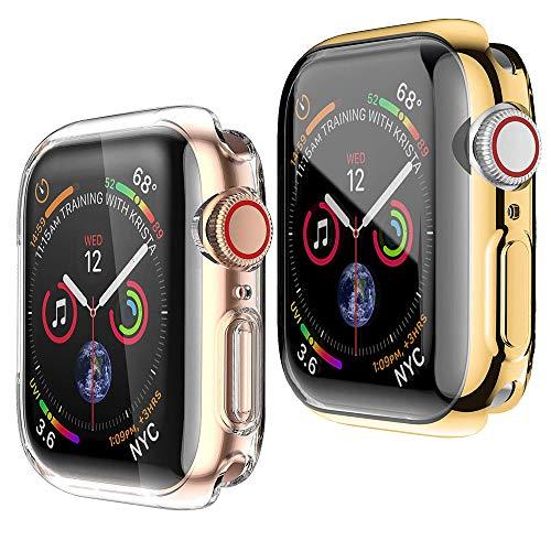 HENGBOK Hülle mit Bildschirmschutz für Apple Watch Series 3/2/1 42mm, 2 Stück iWatch Schutzhülle Voller Schutz Superdünn Weiche TPU Hülle Kratzfest Stoßfest Gehäuse - Gold+Transparent