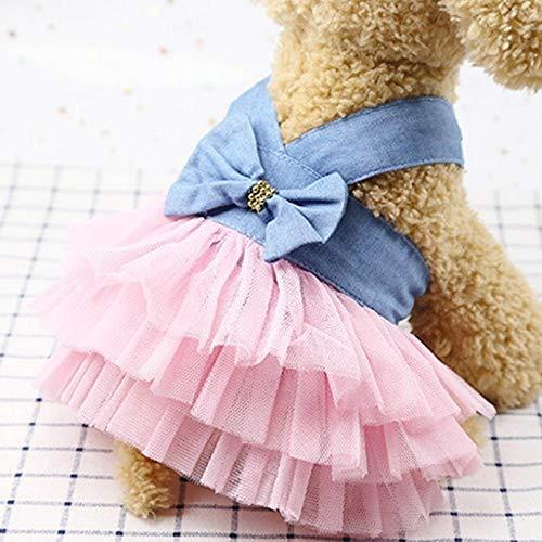 Tuzi Qiuge Sommer Welpen Prinzessin Hochzeitskleid Anzug Welpen Kleidung Hemdkleidung, Größe: L (Jean Pink) (Color : Pink Stripe)
