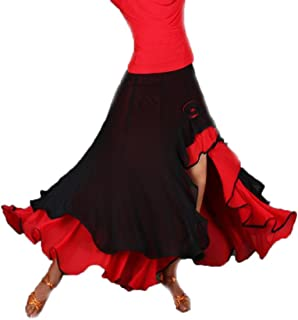 [RSWHYY] レディース スカート ダンス 社交ダンス モダン ラテン ロング ショート スリット入り 不規則 大振り子スカート 競技ダンス 練習着 フレアスカート