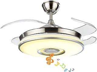 Pengfei Ventilador de Techo Inteligente Moderno de 42 Pulgadas con Luces Luces de araña de Altavoz Bluetooth Accesorios, Control Remoto, aspas retráctiles, 3 Colores claros, para Sala de Estar, Dorm