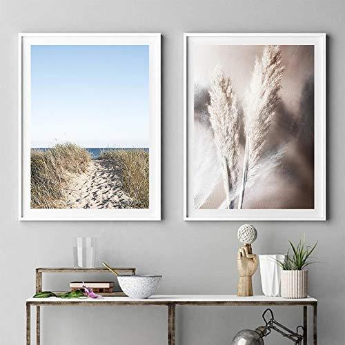 OKYQZ Arte de Pared costero Pintura en Lienzo Pastel Playa Paisaje Carteles e Impresiones Imágenes de Pared de Hierba para la decoración del hogar de la Sala de Estar (50x70cm) X2 Sin Marco