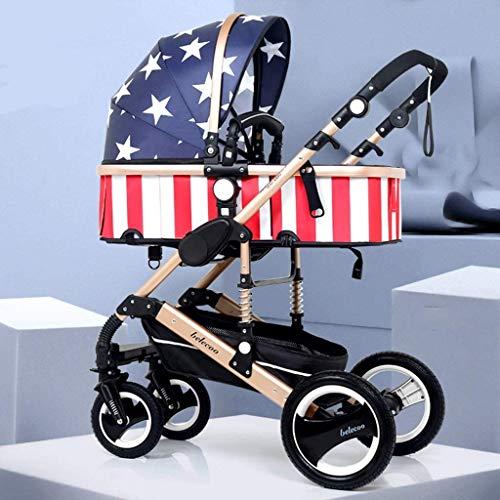 YZPTD Cochecito de bebé de Alta Vista, cochecitos de Buggy compactos, Cochecito de Cochecito portátil Anti-Shock con Carro de Aluminio (Color: Multicolor) (Color : Multi-Colored)
