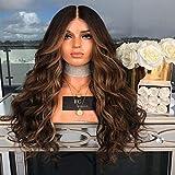 QXbecky Gradiente de sección media pelo largo y rizado natural degradado peluca de fibra química cas...