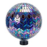 VCUTEKA Gazing Ball, Glass Mosaic Gazing Balls Sphere for Garden Lawn Outdoor Ornament Yard Decorative, 11-Inch, Purple