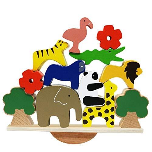 Animales de Madera Bloques de apilamiento Juegos de Equilibrio Playset Montessori Toy para niños pequeños