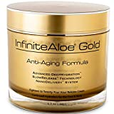 InfiniteAloe Gold Anti-Aging Formula - Natural Under Eye, Face and Natural Neck Cream - Organic Anti-Aging with Aloe, Peptides, Vitamins, Collagen, Alpha Lipoic Acid and DMAE [Large, 1 - 6.7oz]
