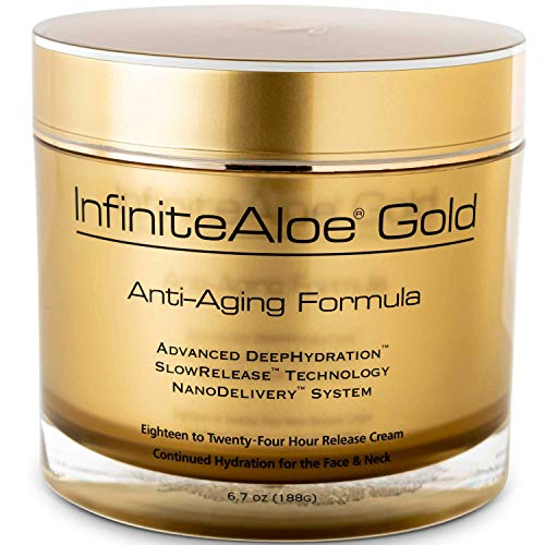 InfiniteAloe Gold Anti-Aging Formula réparneu - Face, Eye and Neck Cream made with Organic Aloe Vera as First Ingredient and Packed with High Power Anti-Aging Ingredients For Fine Lines, Wrinkles and Age Spots. Packaging Design May Vary. (1) 6.7oz