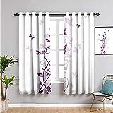 VICWOWONE Cortinas opacas para dormitorio, 183 cm de largo, árbol violeta, flores persas, lila, con mariposa ornamental, diseño de plantas, uso repetible, 72 x 72 pulgadas, color morado y blanco