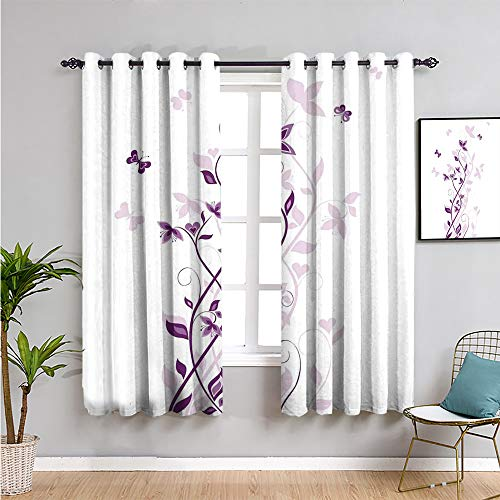 Xlcsomf purple Curtain panels, Curtains 84 inch length violet tree swirling persian lilac blooms with butterfly ornamental plant graphic Indoor curtain purple white W108 x L84 Inch