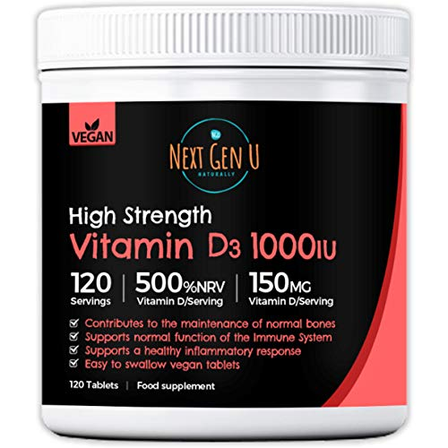 Vitamin D Tablets 1000iU – 120 Vegan Tablets | NHS Recommended Strength 4 Months Supply |Supports Normal Immune Function | Vitamin D3 Supplement from Algae | NHS Recommended Strength 4 Months Supply