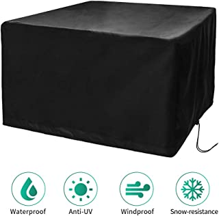 CosyInSofa Funda para Muebles de Jardín, Copertura Impermeable para Mesas Rectangular, Funda Protectora Anti-UV para Patio Muebles Sillas Sofás Mesas Cubierta de Exterior Oxford (126x126x74cm)