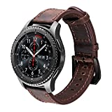 iBazal Correas Gear S3 Frontier Classic Cuero 22mm Bandas Piel Pulseras Compatible con Samsung Galaxy Watch 3 45mm/Galaxy Watch 46mm Reemplazo para Huawei Watch 2 Classic/GT 46mm,Ticwatch Pro - Café