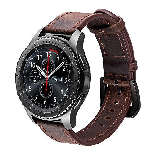 iBazal Gear S3 Frontier Classic Armband Uhrenarmband Lederarmband 22mm Lederband Ersatz für Samsung Galaxy Watch 3 45mm/Samsung Galaxy Watch 46mm,Huawei GT/2 Classic,Ticwatch Pro - Kaffee/Schwarz