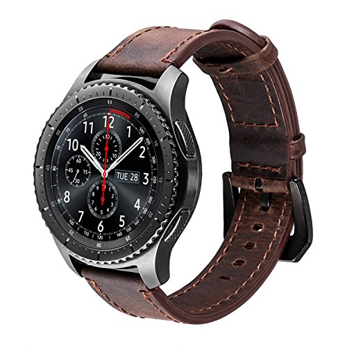 iBazal Gear S3 Frontier Classic armband horlogeband lederen armband armbanden 22 mm lederen band vervanging voor Samsung Galaxy Watch 46 mm SM-R805/800, Huawei GT/Honor Magic/2 Classic, Ticwatch Pro koffie / zwart