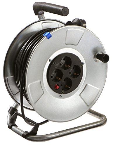 as - Schwabe metalen kabelhaspel, met 50 m kunststof kabel, 230 V/16 A, verlengkabeltrommel met 4 stopcontacten, IP20, Made in Germany, zilver I 10310