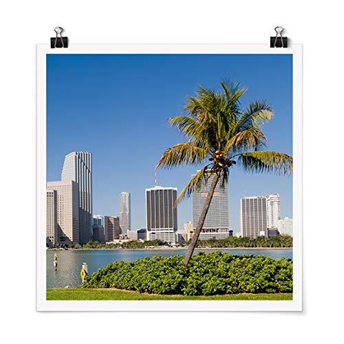 Bilderwelten Poster Wanddekoration Wall-Art Miami Beach Skyline Quadrat, Glänzend 50 x 50cm