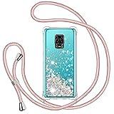 Funda Glitter Liquida con Cuerda para Xiaomi Redmi Note 9S/ Note 9 Pro/ Note 9 Pro Max, Glitter Cristal Suave TPU Bumper Protector Carcasa, Case con Arena Movediza Colgante Ajustable Cordón -Oro Rosa