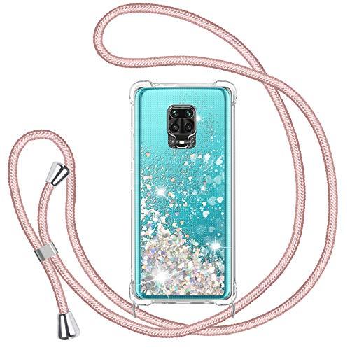 Handykette für Xiaomi Redmi Note 9S/ Note 9 Pro/ Note 9 Pro Max Glitzer Handyhülle, Glitter Flüssigkeit Necklace Schutzhülle Hülle TPU Bumper Silikon Clear Cover, Gradient Quicksand Hülle in Rosé-Gold