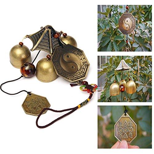 EgBert Antikes Bronzeklatsch-Windspiel Im Freiengarten-Windspiel DREI Glocken