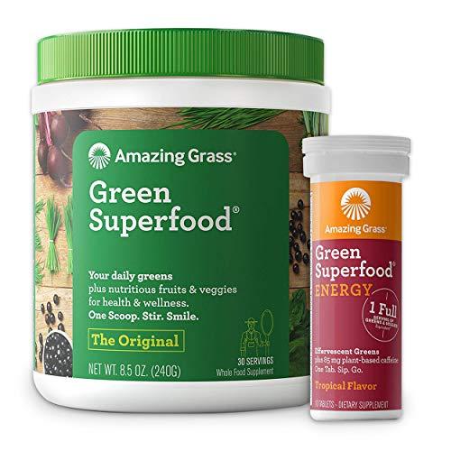 Amazing Grass Superfood Bundle - Original Superfood Greens Powder & Energy Drink Tablets, Tropical Flavor, 30 Servings