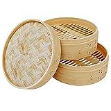 DASND 10/15 / 18/20/25.5cm 2 Niveles Natural Cause de bambú Base de Bambalina Cesta de Vapor con Tapa Herramientas de Cocina de Cocina (Size : 15cm)