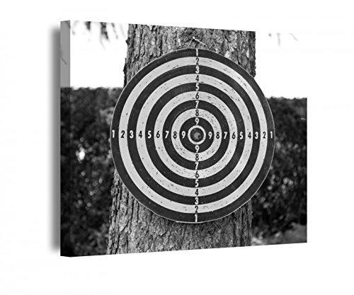 Leinwand 1Tlg Sport Dart Darts Zielscheibe schwarz weiß Leinwandbilder Bild Bilder Holz fertig gerahmt 9R1424, BxH Bild:40cmx40cm