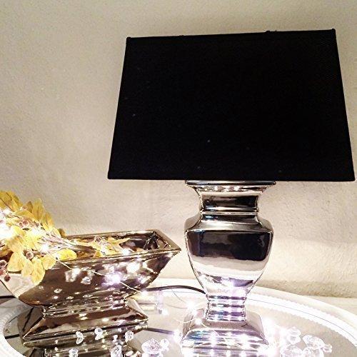 DRULINE Silver Lady 43 cm Nachttischlampe Shabby Chic Tischleuchte Silber Keramiklampe