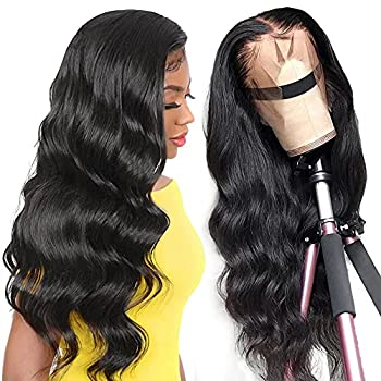 Lace Front Wigs Human Hair Wigs for Black Women 10A Brazilian Remy Hair Glueless 20 Inch Body Wave Wigs Pre Plucked Natural Hairline with Baby Hair 13X 4 Lace Wigs 150% Density Natural Color