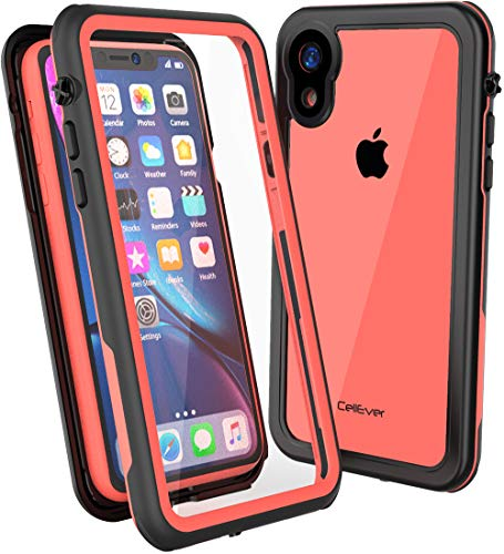 CellEver iPhone XR Clear Case Waterproof Shockproof IP68 Certified SandProof Snowproof Full Body Protective Clear Transparent Cover Fits Apple iPhone XR 6.1 inch (2018) - KZ Coral
