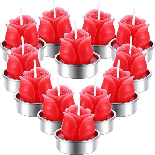 ACHICOO - Juego de 6 velas románticas en forma de rosa para decoración de San Valentín