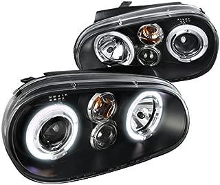 Spec-D Tuning LHP-GLF99JM-TM Volkswagon Golf MK4 Dual Halo Black Projector Headlights