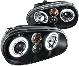Spec-D Tuning LHP-GLF99JM-TM Volkswagon Golf MK4 Dual Halo Black Projector Headlights