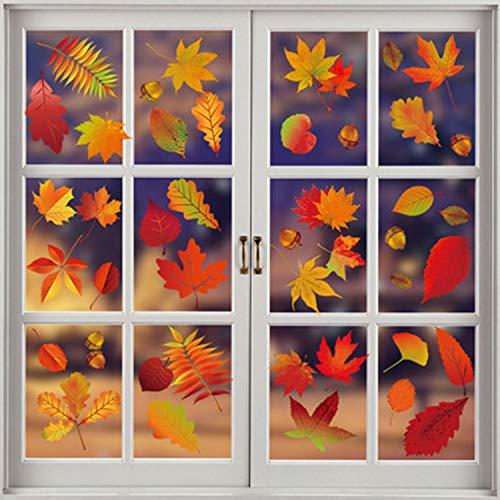 Tuopuda Herbst Blätter Fensteraufkleber 174 Stück Fensterbilder Erntedankfest Fensterdeko Thanksgiving Fenster Ahornblätter Deko Herbstdekoration für Kinderzimmer Cafe Buchhandlung Party Zubehör