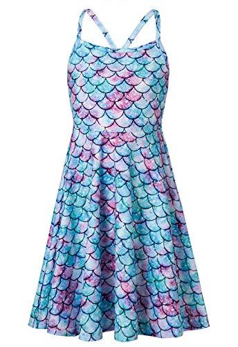 Vestido de verão RAISEVERN com alças finas e comprimento até o joelho tamanho 4-13, Mermaid 04, 10-13 Years