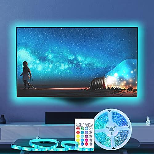 USB Striscia LED TV Retroilluminazione 2M, Besvic Musica Sync RGB LED Striscia con Telecomando, Luci LED per TV 32-55 Pollici, 16 Colori e 4 Modalità Dimmerabile Strisce LED Strip per PC Monitor